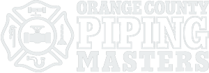 Badge to the left with a pipe wrench, broken pipe, plunger, drain pipe and valve. To the right, text reading Orange County Piping Masters.